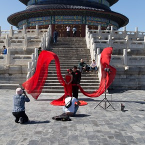 Bridal shooting in front of the temple of heaven