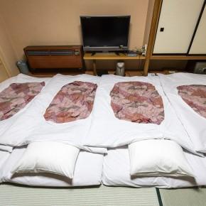 Unser Bettenlager auf den Tatami Matten.